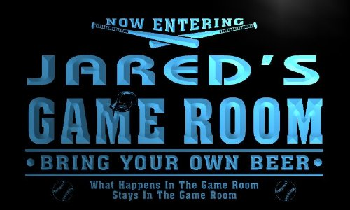 x0226-tm Jared's Man Cave Game Room Custom Personalized Name Neon Sign