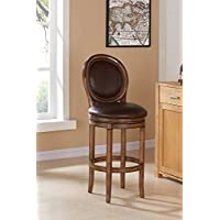 Armen Living LCGRBAKACH26 Greece 26 Counter Height Swivel Barstool in Kahlua Faux Leather and Chestnut Wood Finish