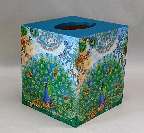 Handmade Decoupage Wood Tissue Box, Peacocks