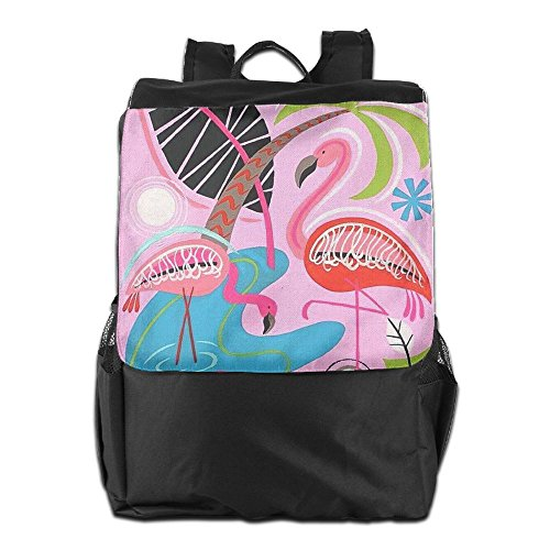 HSVCUY Personalized Outdoors Backpack,Travel/Camping/School-Pink Flamingo Adjustable Shoulder Strap Storage Dayback For Women And Men