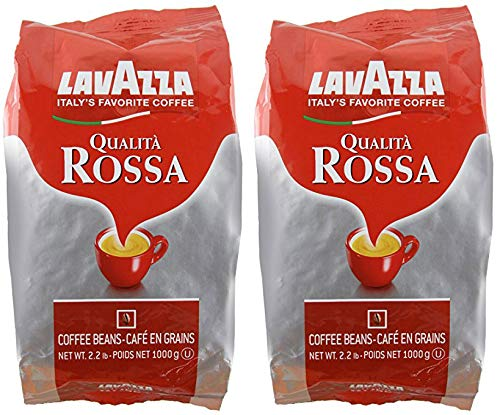 Lavazza Qualita Rossa, Italian Coffee Beans Expresso, 2.2 pound - Pack of 2