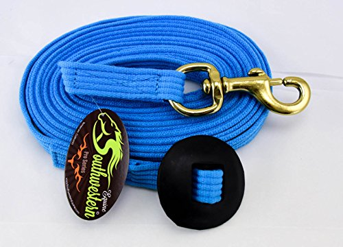 Southwestern Equine 24 Flat Cotton Web Lunge Line with Bolt Snap & Rubber Stop