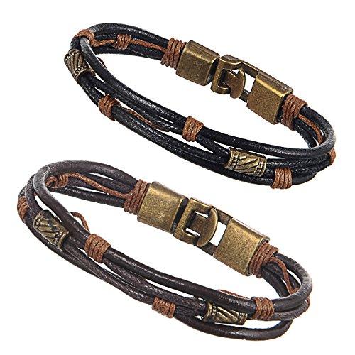 Colrov Vintage Mens Leather Bracelets, Cool Wrist Band Rope Bracelet Bangle For Boys Brown Black Color (Studded Wristband Single)