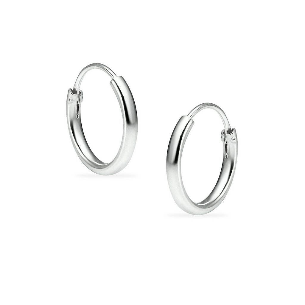 Silverline Jewelry Sterling Endless Hoop Earrings for Cartilage, Nose and Lips, 3/8'', Small