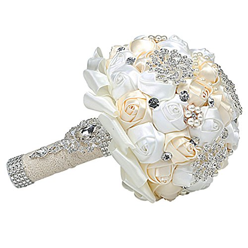(MyGift Bejeweled Wedding Bouquet, White & Ivory Faux Pearls and Rhinestones Bridal Satin Rose Flowers)
