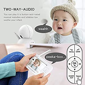 HD Video Baby Monitor, 5 Inch LCD Display, 720P Camera with 110° Wide Angle,Two-Way Audio, Temperature and Sound Alarm, Security Camera with 110° Wide Angle, Night Vision, Up to 1000ft of Range