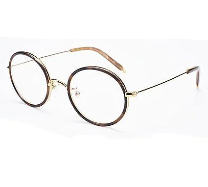 b94c1cf77a6 Amazon.com  Khoty Men Women Vintage Retro Round Metal Plate Ultralight Blue Light  Eyeglasses Frames Eyewear (Tortoise Bronze)  Clothing
