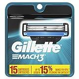Gillette Mach3 Men's Razor Blade Refills, 15 Count (Packaging May Vary), Mens Razors / Blades