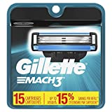 Beauty : Gillette Mach3 Men's Razor Blade Refills, 15 Count (Packaging May Vary), Mens Razors/Blades