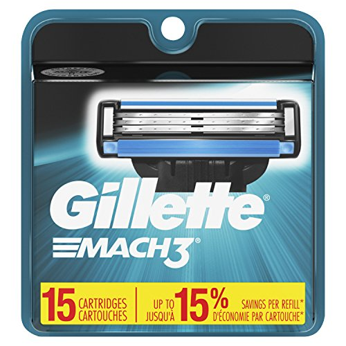 Gillette Mach3 Mens Razor Blade Refills, 15 Count (Packaging May Vary), Mens Razors/Blades