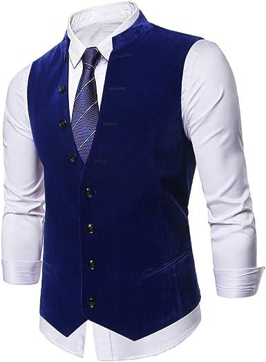 Chaleco para Hombre Casual Solid Vest Blazer algodón Slim Fit ...