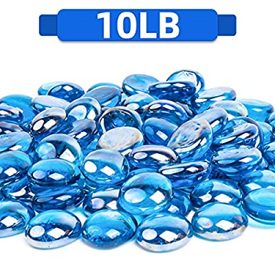 FutureWay Fire Glass Beads 10 Pound - 1/2 Inch Fire Pit Glass for Indoor and Outdoor Natural or Propane Fire Pits Fireplaces, Caribbean Blue High Luster