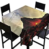 home1love Volcano Washable Tablecloth Hot Red Lava and Smoke Stain Resistant, Washable 70 x 70 Inch