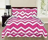 6 Piece Reversible Chevron Comforter Set New Bedding Zig Zag - Hot Buy !!! (Full Size, Hot Pink)