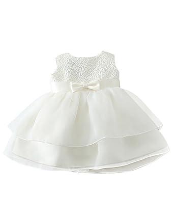 Girls Tulle Flower Sleeveless Princess Wedding Dress For Toddler Baby Girl Beige 3M
