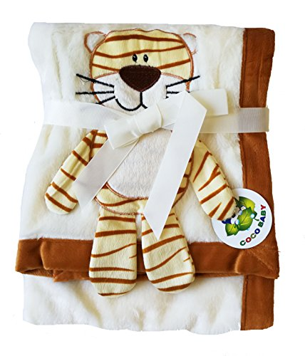 - Beige Plush 2 Ply PV Baby Blanket, 3D Tiger Design, 30
