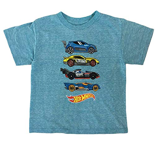 Hot Wheels Little Boys Car Line Up T Shirt (5/5T) Light Blue Heather ()