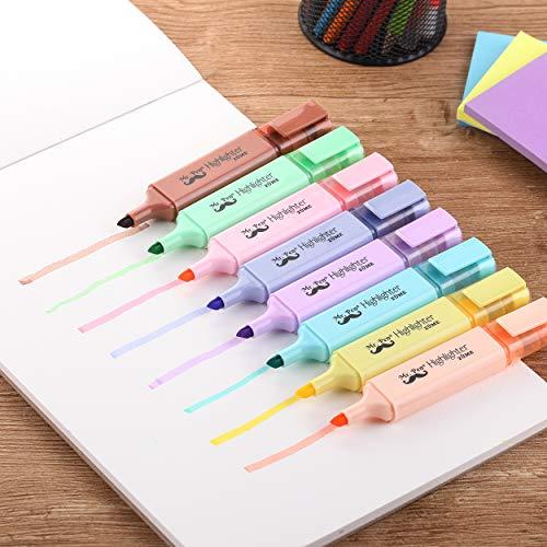 Pastel Highlighters 8 Pack Chisel Tip Assorted Colors Pastel Highlighter Set