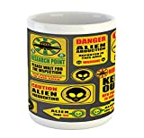 Lunarable Outer Space Mug, Warning Ufo Signs with Alien Faces Heads Galactic Theme Paranormal Activity Design, Printed Ceramic Coffee Mug Water Tea Drinks Cup, Yellow