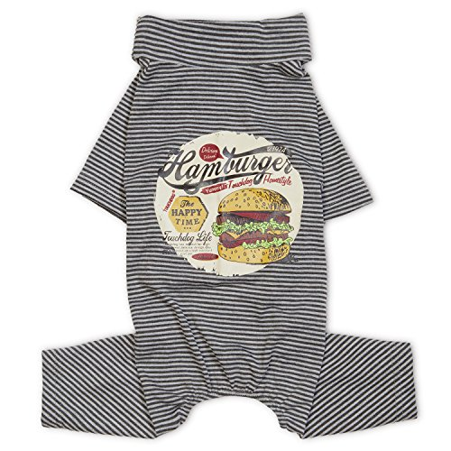 TOUCHDOG 'Cozy Jams' Breathable Printed Fashion Designer Long Sleeve Full Body Pet Dog Thermal Jumpsuit T-Shirt Pajamas, Large, Grey -