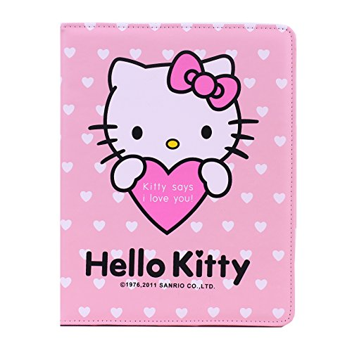 Stand Case Cover for iPad2/3/4 Hello Kitty Themed Soft PU Leatehr Cover Skin with Magnetic Snap + 1 piece of free screen protector