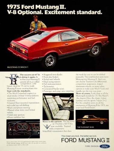 1974 Ad 1975 Ford Mustang II Mach 1 2 Door Coupe Pony Muscle Car 2.8L V8 Engine - Original Print Ad (Mustang Interior Pony)