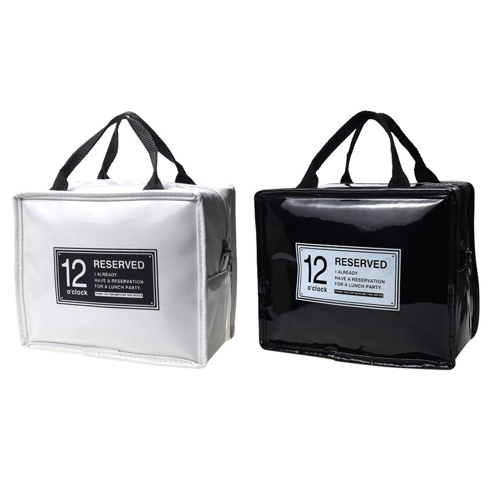 JTX ファッション PUレザー 明るい表面 ランチバッグ ハンドバッグ 防水 ポータブル 食べ物 ピクニック クーラーバッグ 断熱 保温 収納 容器 トートバッグ (2個パック)   B07GC1D6GQ