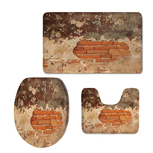 Pattern,Antique,Old Historical Floral Mural Painting on A Wall Concrete Bricks Rustic Decoration,Orange Beige,3 Piece Toilet mat Set