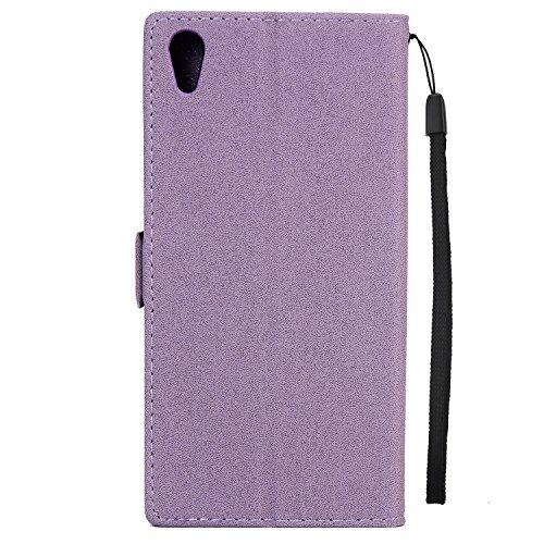 Olyee Sony Xperia XA1 ultra hülle, Leder PU Cover Magnet Flip Hülle für handyhülle Sony Xperia XA1 ultra Campanula Schutzhülle Kartensteckplätzen und Ständer Handytasche Purple
