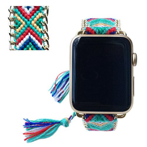 Apple Watch Band 42MM, Fashion Handmade Friendship Bracelet Replacement iWatch Strap Women Girls for Apple Watch Series 2 Series 1 All Version ()