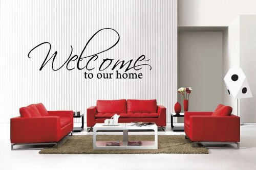 Newclew WELCOME TO OUR HOME Vinyl Wall Quote removable Vinyl Wall Decal Home Décor Large (Our Home Welcome To Decor)