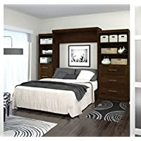 Bestar Pur Queen Wall Bed with Storage in Chocolate