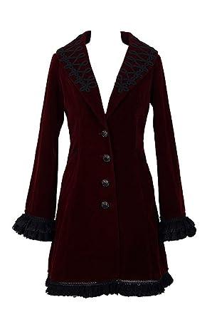 Devil Fashion Abrigo Bordado Rojo Oscuro Mujer Terciopelo gótico Vampiro aristócrates Rojo Small: Amazon.es: Ropa y accesorios