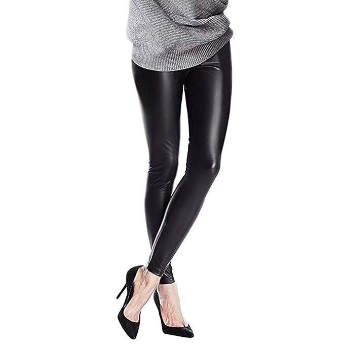 6e0810a08 Pantalones Mujer Chandal Tallas Grandes EláSticos ImitacióN Cuero con Falda  Pantalones Pitillo Negro Cintura Alta Medias