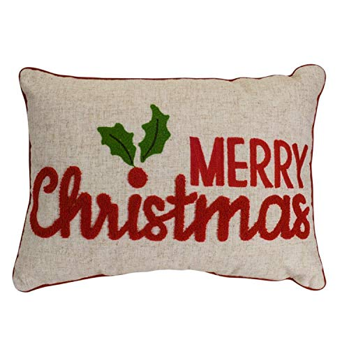Diva At Home Set of 2 Red and Brown Christmas Greetings Printed Decorative Throw Pillow 19.5