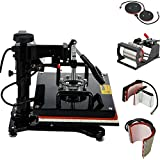 6 in 1 Combo Heat Press Machine T-Shirt Hat Cap Mug Plate Digital Transfer Sublimation Heating Upgrated 15X15 Inch