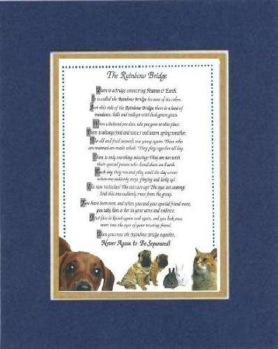 Touching and Heartfelt Poem for Dog Memorial - [The Rainbow Bridge] Dog Memorial Wall Decor Poem Pet Saying Bereavement on 11 x 14 CUSTOM-CUT EXTRA-WIDE Double Beveled Matting