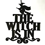 Slendima 15'' x 12.48'' x 0.12'' The Witch is in Halloween Hanging Door Sign Home Party Non-Woven Wall Decor - Black The Witch is in