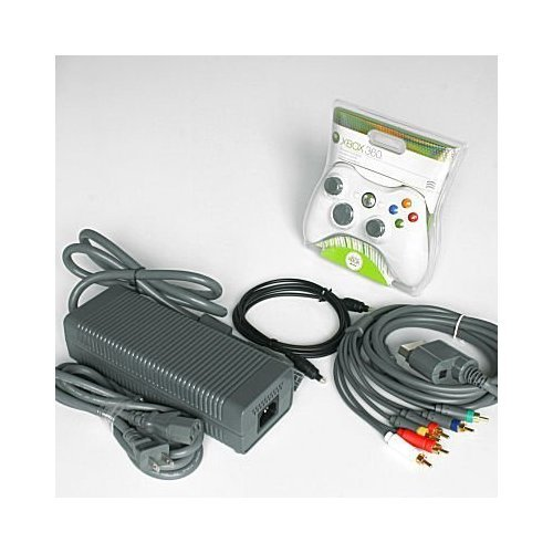 Replacement Power Supply Brick Adapter Cord, HD Component AV and Optical Cables, and Wireless Controller for Microsoft XBox - And Scott Optical White