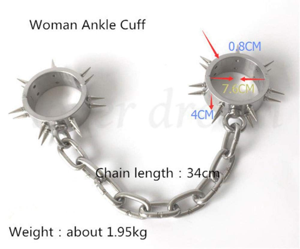 Maclea Stainless Steel Fetish Slave Restraint Handcuffs Ankle Cuffs Collar with Thorn Couples BDSM Bondage Adult Sex Toys for Woman Men,Woman Ankle Cuff