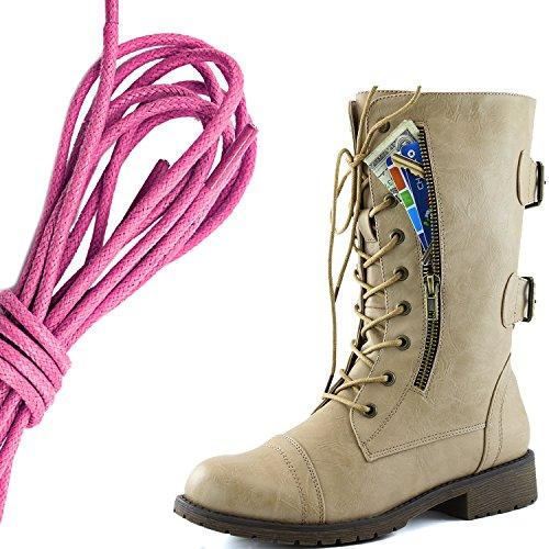 Dailyshoes Femmes Lace Militaire Boucle Boucle Bottes De Combat Mi Genou Haute Carte De Crédit Exclusive Poche, Rose Flirty Beige