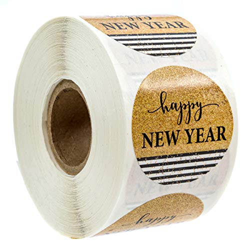 Black & Gold Happy Year Stickers/500 Year Labels/Happy