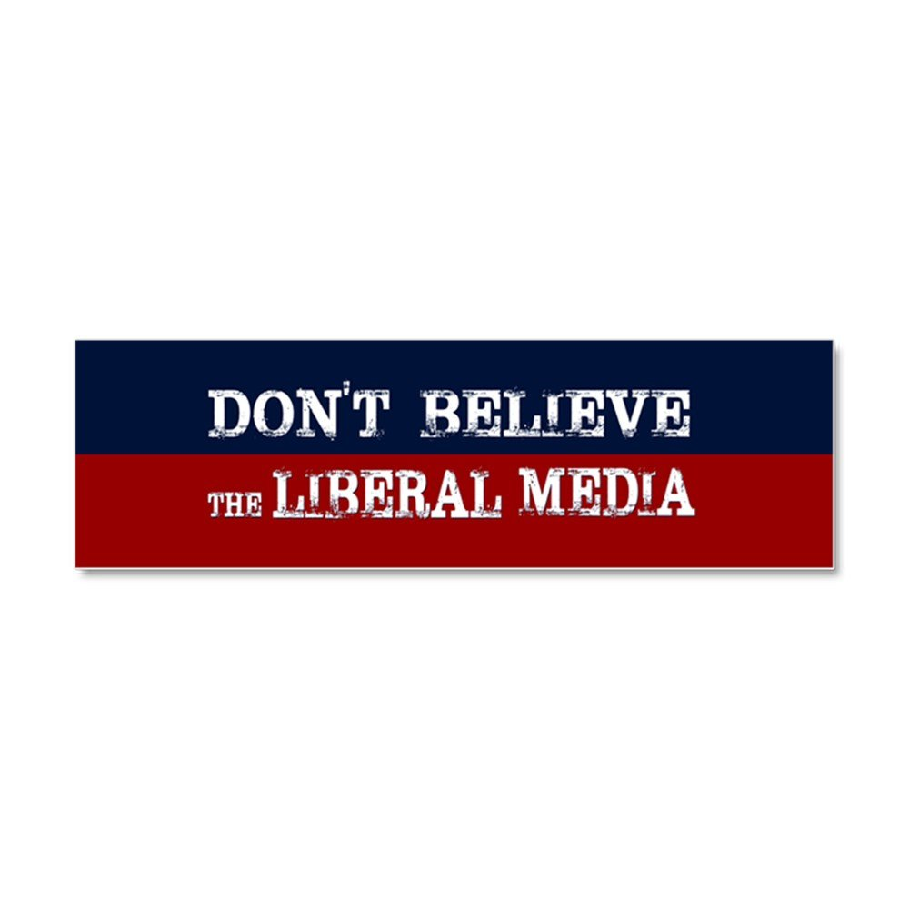Amazon com cafepress dont believe the liberal media car magnet 10 x 3 magnetic bumper sticker automotive