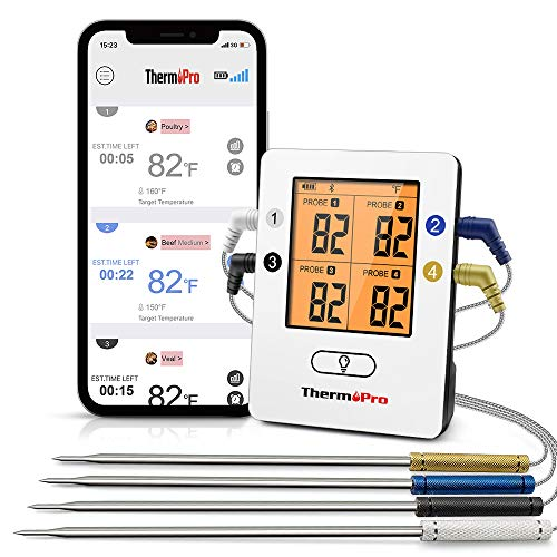 ThermoPro TP25 500ft Wireless Bluetooth Meat Thermometer with 4 Temperature Probes Smart Digital Cooking BBQ Thermometer…