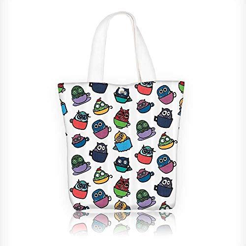(Women's Canvas Tote Bag, Funny Owl in Coffee Tea Espresso Mug Cup Good Morning Cafe Childish Cheerful Ladies Top-handle Handbags, work school Shoulder Bag W11xH11xD3)