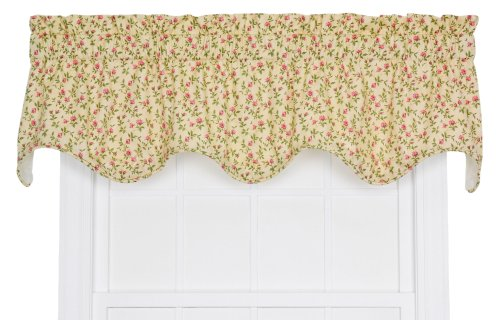 Ellis Curtain Marcia Floral Vine Print Lined Scallop Window Treatment Valance, 70 by 15-Inch, Green For Sale