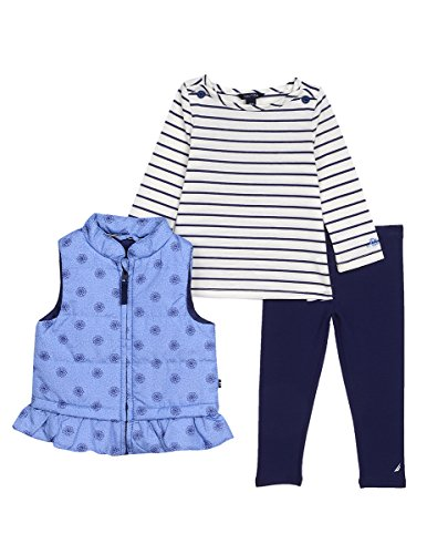Nautica Baby Girls' Three Piece Vest, Top and Pant Set, Light Chambray Medallion, 18 Months (Piece Vest Three)