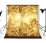 10x10ft Gold Glitter Sequin Spot Backdrop, LESS CREASE Computer Printed Bokeh Backgrounds Party Wedding Children Newborn Photography Studio Props (Updated Material)