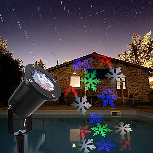 [Snowflake Landscape Projector , Atshark Waterproof Auto Moving Snowflakes Light Lamp for Outdoor Decor Stage Irradiation Halloween Home Christmas] (Halloween Decor For Home)