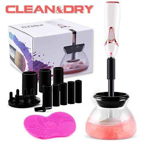 Makeup Brush Cleaner and Dryer Electric Spinner Machine Automatic Cleaning Tool Kit with Free Makeup Brush Cleaning Mat, Wash and Dry All Sizes Cosmetic Brushes in Seconds, White